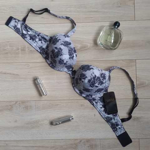 Купить Бюстгальтер Sassa Серый с цветочным принтом распродажа сток Киев Украина