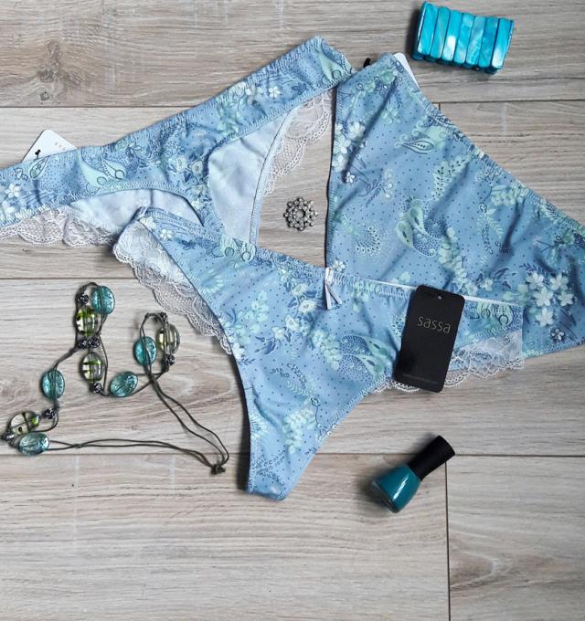 Купить Трусики стринги Sassa Голубой распродажа сток Киев Украина